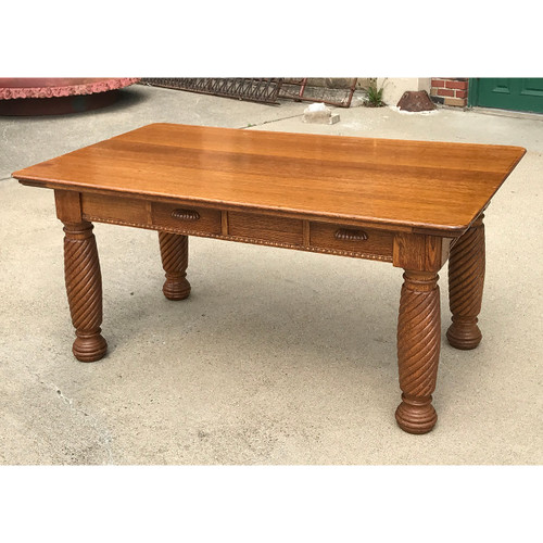 F21077 - Antique Quarter Sawn Oak Library Table