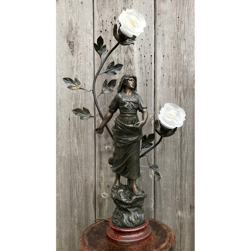 L21091 - Bronze Plated Spelter Figural Lamp