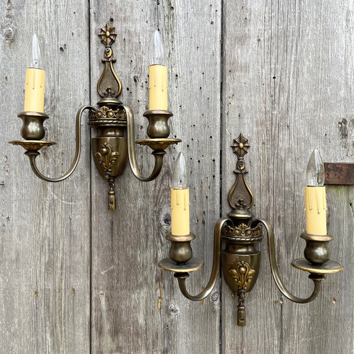 L21092 - Pair of Antique Double Arm Sconces