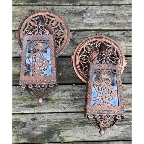 L21096 - Pair of Amazing Antique Tudor Style Sconces