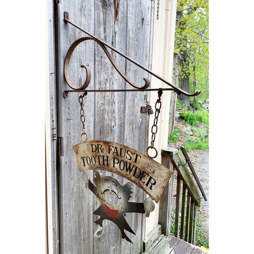 A21066 - Antique Tooth Powder Sign with Hand Wrought Bracket