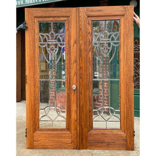 "D21059 - Pair of Antique Oak Miracle Doors with Beveled Glass 60"" x 79-1/4"""