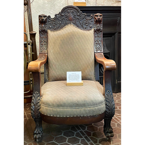 F21099 -  Antique Carved Oversized Lion Arm Chair