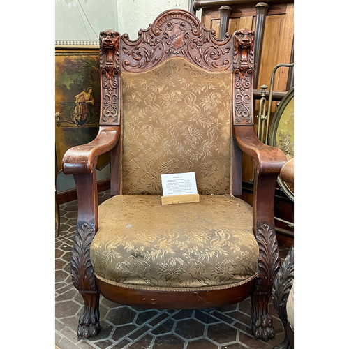F21100 - Antique Carved Oversized Lion Arm Chair