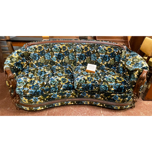 F21101 -  Antique Carved Ibis and Floral Chair and Sofa