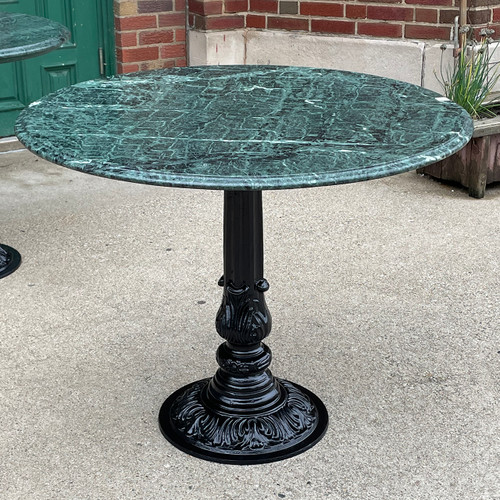 F21105 - Vintage Ice Cream Parlor Table with Verde Marble Top
