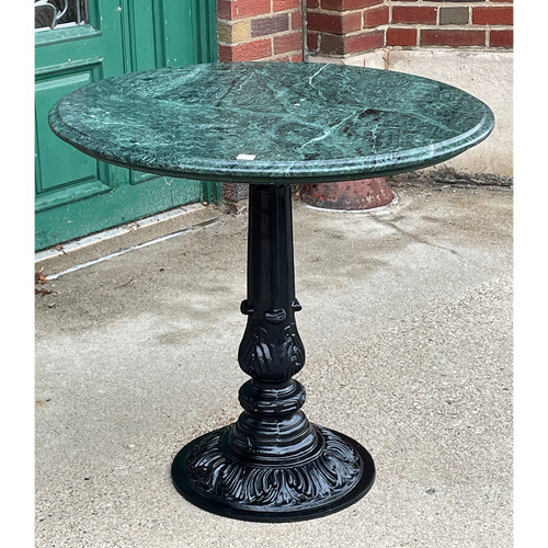 F21106 - Vintage Ice Cream Parlor Table with Verde Marble Top