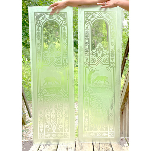 G21039 - Pair of Etched Glass panels