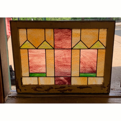 G21041 - Antique Arts & Crafts Window with Purple Texture Glass