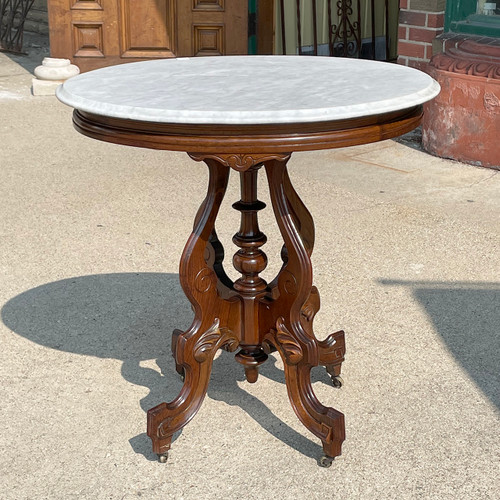 F21125 - Antique Late Victorian Marble Top Parlor Table