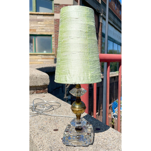 L21237 - Vintage Glass and Brass Lamp
