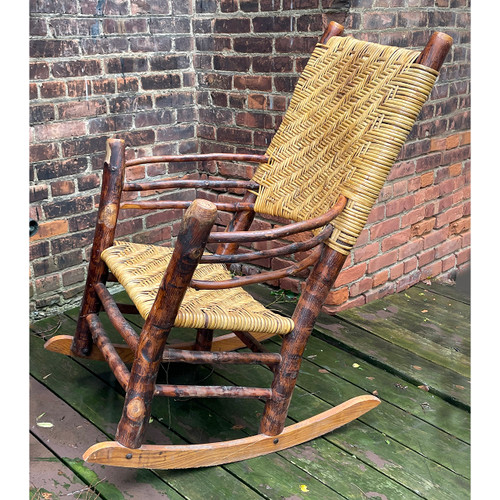 F21154A - Vintage Wicker Old Hickory Rocking Chair