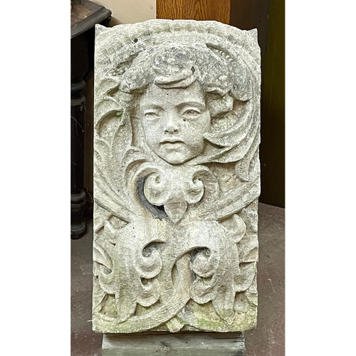 S21043 - Antique Carved Limestone Building Fragment
