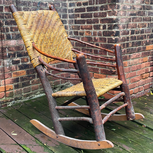 F21154B - Vintage Wicker Old Hickory Rocking Chair