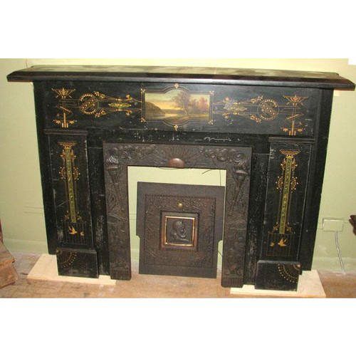 M11009 - Amazing Antique Hand Painted Slate Half Mantel - High-End Antiques Showroom - (734)483 6980- 2 W. Michigan Ave
