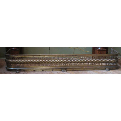 805340 - Antique Neoclassical Style Brass Mantel Fender