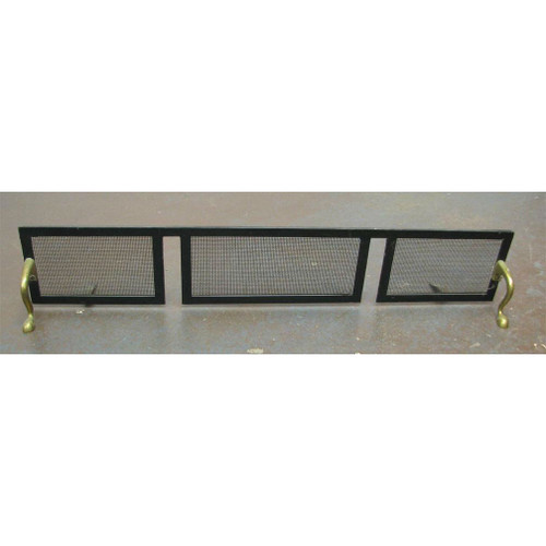 805660 - Antique Colonial Revival Brass And Iron Screen Fender