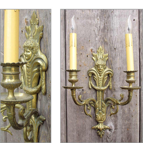 607510 - Antique Neoclassical Candle Arm Wall Sconce from Italy