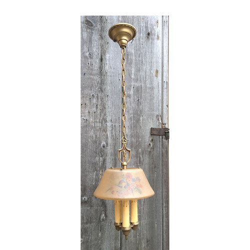 608357 - Antique Art Deco Ceiling Light Fixture with Reverse Painted Shade