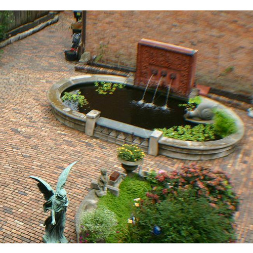 The fountain and pond were part of the landscape at the Fisher house in Detroit. The Terra Cotta fountain wall has three lion heads. Each stream from the lions can be independently controlled. The snail was part of a garden wall at Fisher residence, and can be located anywhere.