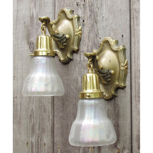 L10794 - Pair of Antique Colonial Revival Wall Sconces with Etched Shades