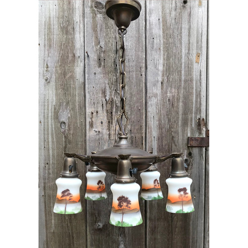 L11206 - Antique Colonial Revival Five Light Pan Ceiling Fixture