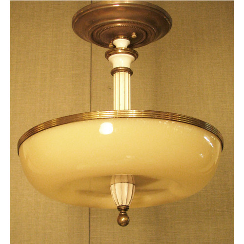 "L11409 -  Antique Art Deco ""Lightolier"" Ceiling Light Fixture"