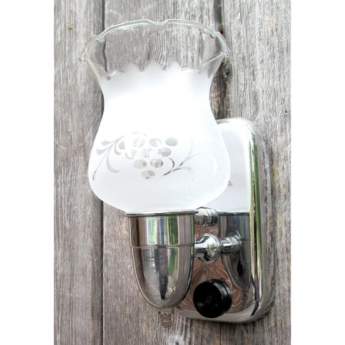 L12297 - Antique Bathroom Wall Sconce with Etched Shade