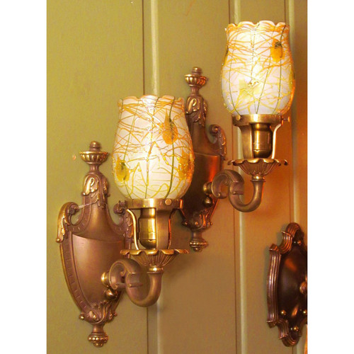 L13040 - Pair of Antique Sconces with Fostoria Art Glass Shades