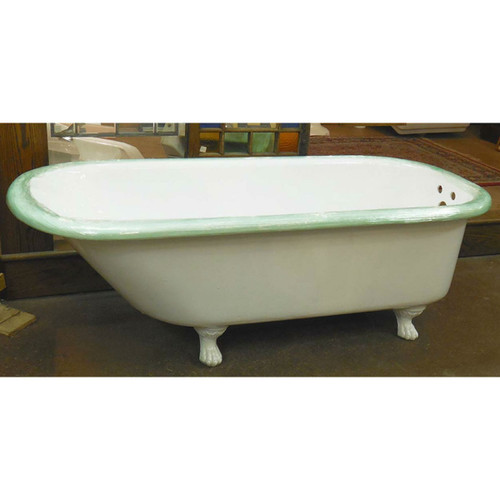 "P14001 - Antique Reglazed Claw Foot Tub - 5'8"" Long"