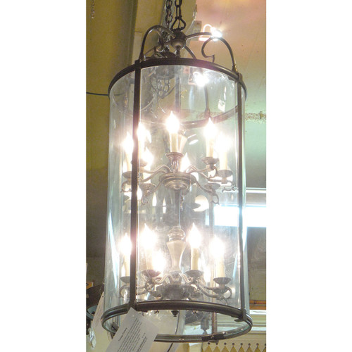 L14174 - Vintage Colonial Revival Style Hanging Cylinder Hall Fixture - Unrestored