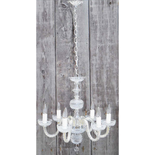 L14180 - Vintage Colonial Revival Six Arm Crystal Chandelier