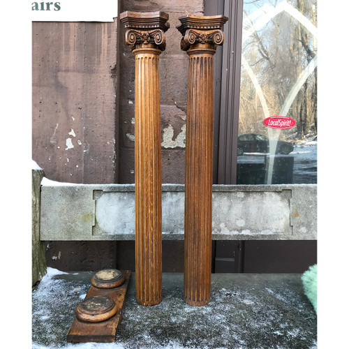 S14037 - Pair of Antique Colonial Revival Oak Interior Fluted Columns