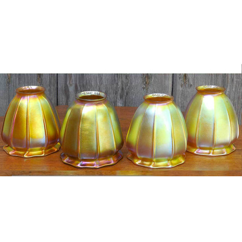 L14259 - Set of Four Quezal Art Glass Lamp Shades