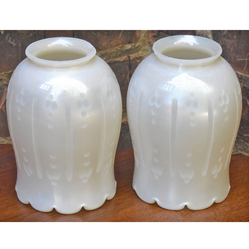 L14260 - Pair of Antique Steuben Art Glass Shades