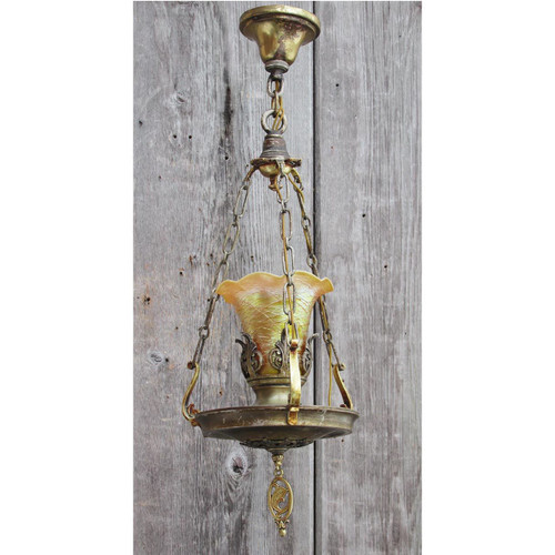 L14296 - Antique Revival Period Ceiling Hall Fixture with Art Glass