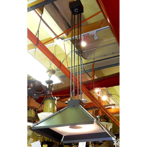 "L14329 - Vintage ""Brass Light Gallery"" Industrial Hanging Fixture"