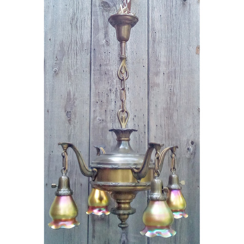 L15024 - Antique Colonial Revival Hanging Four Light Fixture