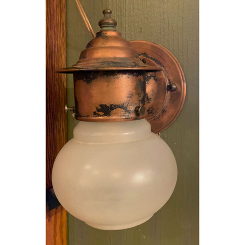 L15039 - Antique Arts and Crafts Copper Exterior Sconce
