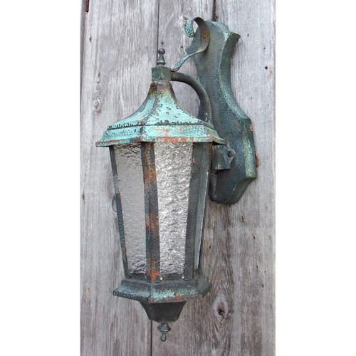 L15040 - Antique Arts and Crafts Hammered Copper Exterior Lantern Sconce