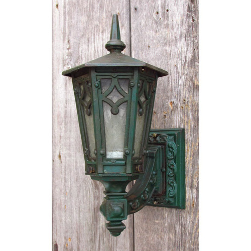 L15048 - Antique Tudor Revival Cast Iron Exterior Lantern Sconce