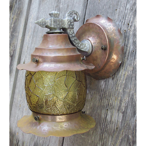 L15233 - Antique Tudor Revival Copper Exterior Lantern Sconce