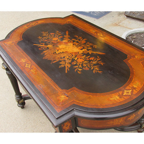 F15088 - Antique Louis Style Ebonized and Inlaid Library Table