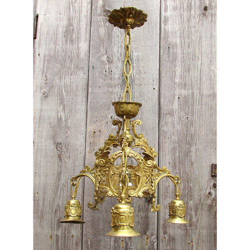 L16010 - Antique Rococo Cast Brass 3 Arm Bare Bulb Fixture