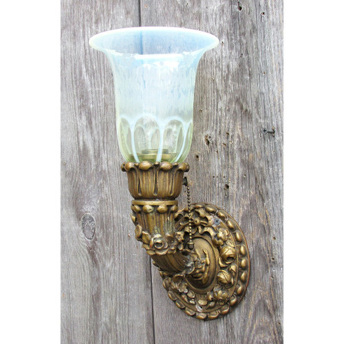 L16047 - Antique Neoclassical Plaster Wall Sconce with Vaseline Hurricane Shade