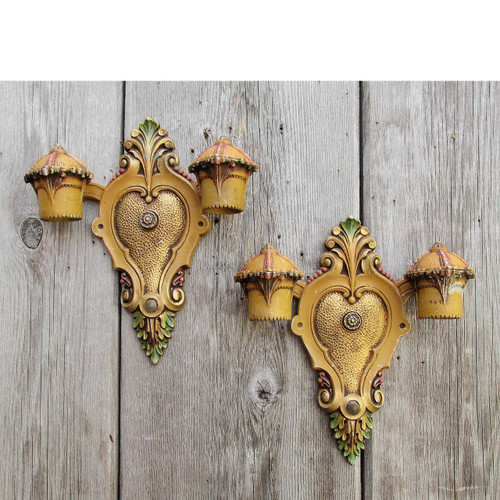 L16107 - Pair of Antique Art Deco Double Arm Drop Bulb Sconces