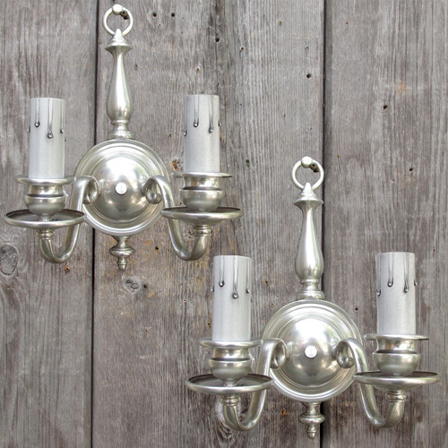 L16153 - Pair of Antique Colonial Revival Silver Plated Double Arm Sconces