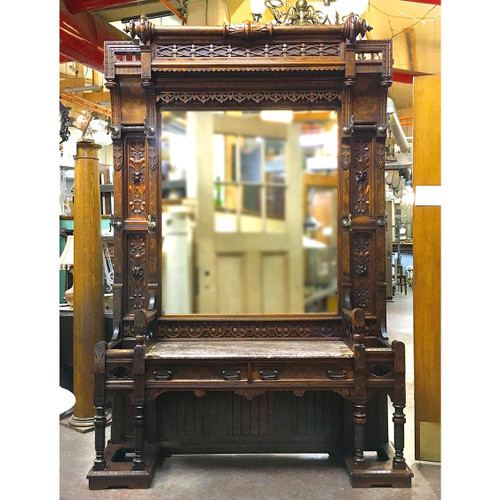 F16190 - Antique Carved Walnut and Burl Hall Seat with Marble Top