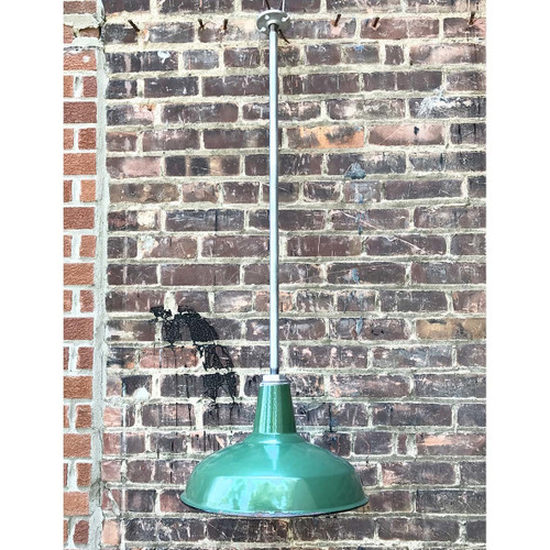 L17136 - Antique Green Enameled Industrial Style Hanging Pendant Fixture