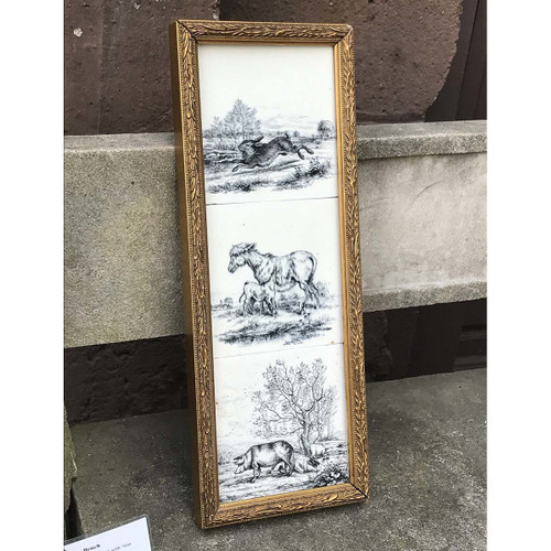 A17059B - Antique Grouping of Three Black and White Scenic Tiles in Frame